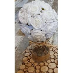 Location boule de roses blanches 2 tailles
