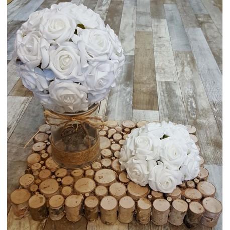 Location demi boule de roses blanches