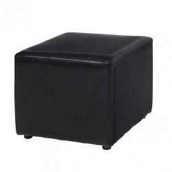 Location pouf cuir noir