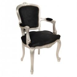 Location fauteuil/trône argent et velours noir